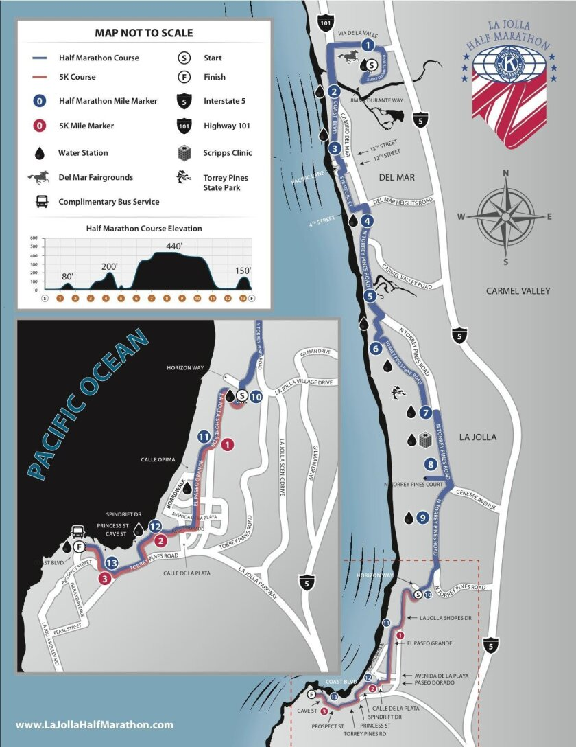 The proposed 2016 La Jolla Half Marathon Route for Sunday, April 24