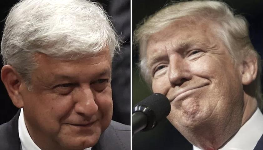 Andrés Manuel López Obrador (i), candidato favorito a la presidencia de México y Donald Trump, mandatario de EEUU.