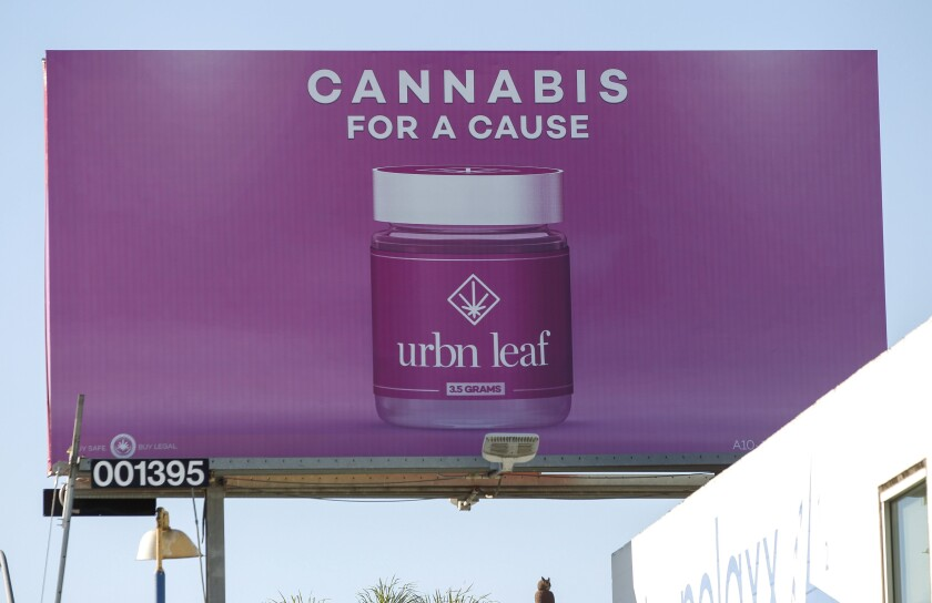 A billboard on Morena Boulevard advertises the Urbn Leaf marijuana dispensary in San Diego.