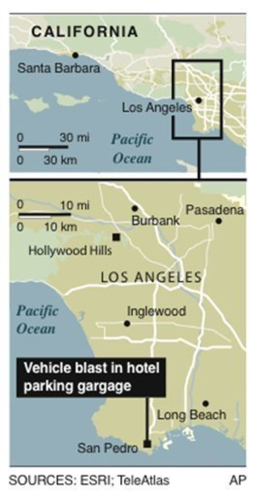 Graphic locates San Pedro area of Los Angeles where an apparent vehicle explosion took place