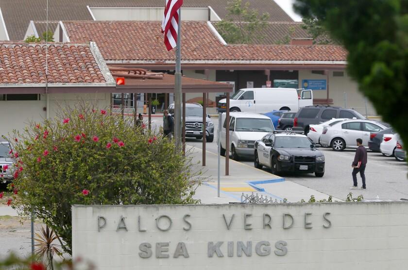 PALOS VERDES ESTATES, CALIF. - MAY 15 2019. Exterior of Palos Verdes High School, A social media pos