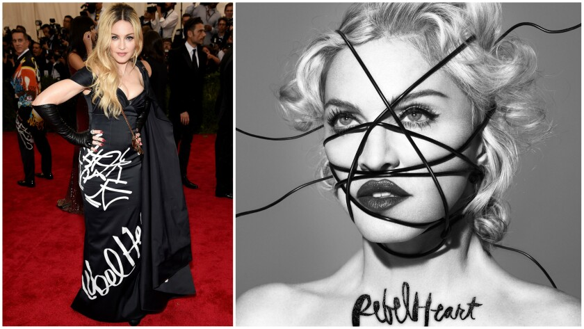 At left, Madonna in a Jeremy Scott for Moschino gown at the 2015 Met Gala on May 4, 2015. Scott is among the designers collaborating with the singer on costumes for her upcoming tour in support of the Rebel Heart album, right.