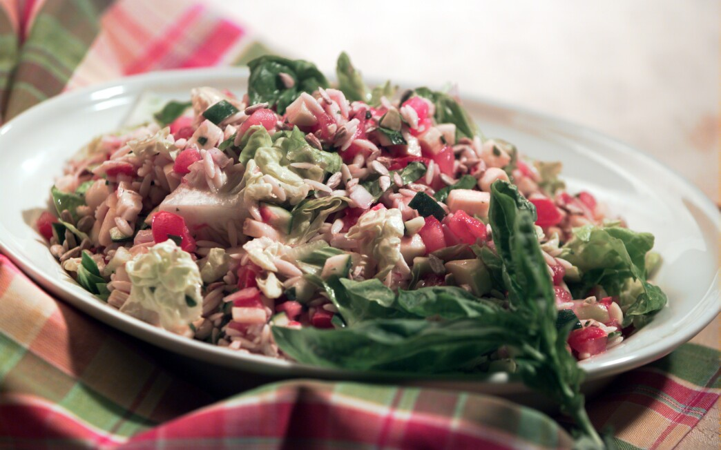 Summer vegetable salad with orzo