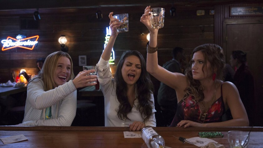 "Kristen Bell, from left, Mila Kunis and Kathryn Hahn appear in a scene from the STX Entertainment comedy ""Bad Moms."""