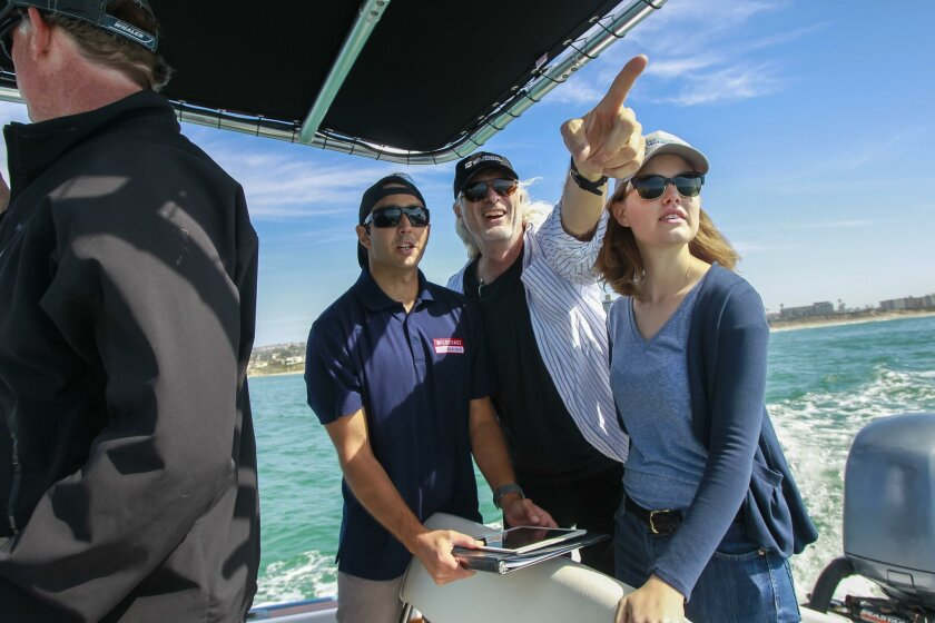 Tarrant Seautelle, (from left) Michael Quill and Melissa von Mayrhauser during an outing off the coast of San Diego.