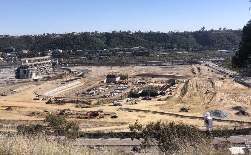 The remaining sections of San Diego Stadium should be gone by end of March, while pour continues on seating for new stadium.
