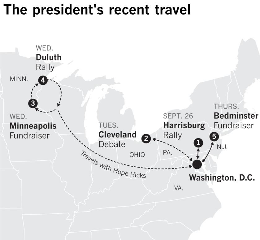 Trump'ın seyahat ettiği yerlerin haritası: Harrisburg, Penn .;  Cleveland, Ohio;  Minneapolis ve Duluth, Minn .;  ve Bedminster, NJ