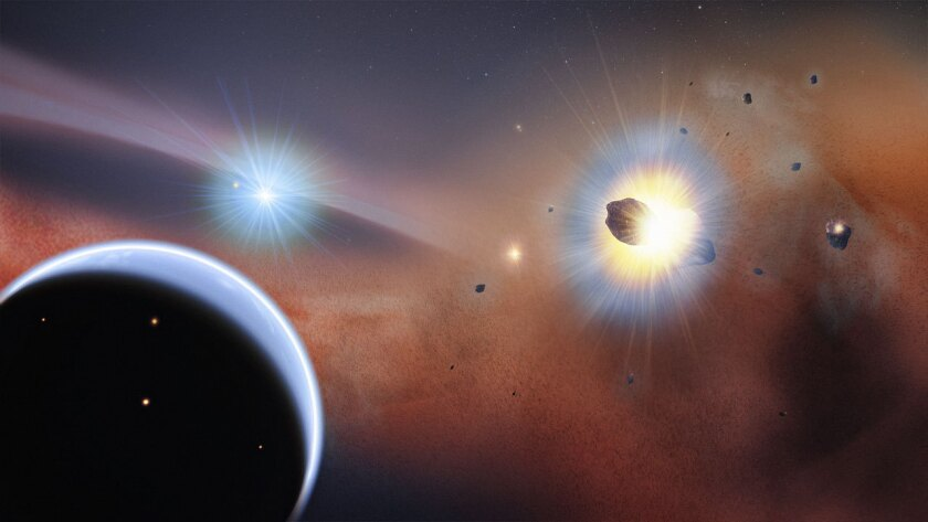 This artist's impression of the Beta Pictoris system shows carbon monoxide gas permeating the star's dusty debris disc. Astronomers say this gas could be the signs of a massive collision of two icy, Mars-sized planets or constant collisions among a population of comets.