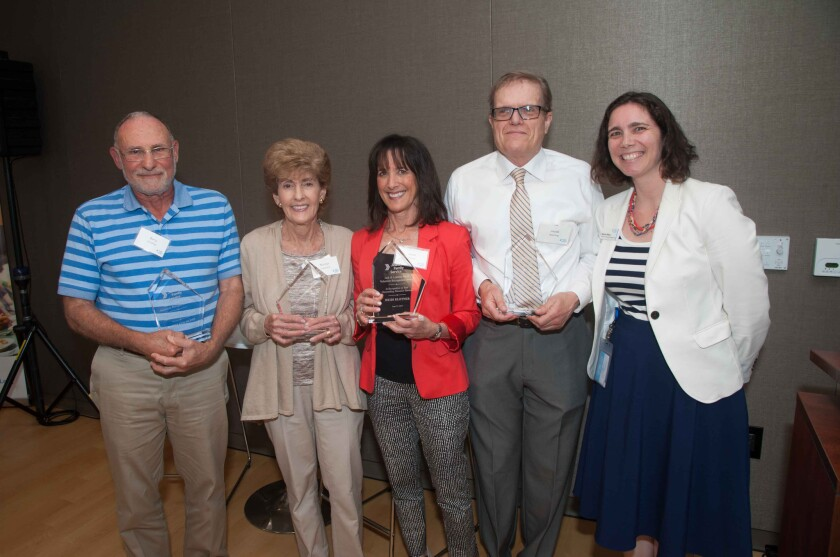 """TextEditor Jewish Family Service of San Diego's """"Jack and Loraine Stern Volunteer Recognition Award"""" recipients included Barry Goldlust, Marilyn Copeland, Heidi Blotner and Jacob L. Sperling of Carmel Valley, pictured with and presented by Director, Volunteer Engagement Melinda Wilkes."""