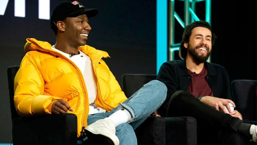 "Jerrod Carmichael and Ramy Youssef of ""Ramy"" onstage during Hulu's presentation at the TCAs Monday."