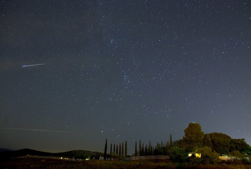 The night sky is shown during the Perseid meteor shower in Ramona, CA.
