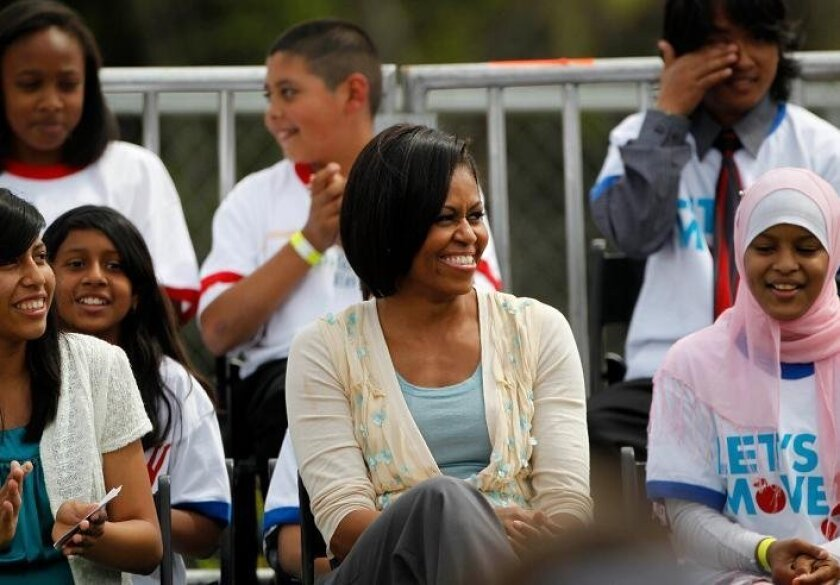 Michelle Obama at the New Roots community garden.