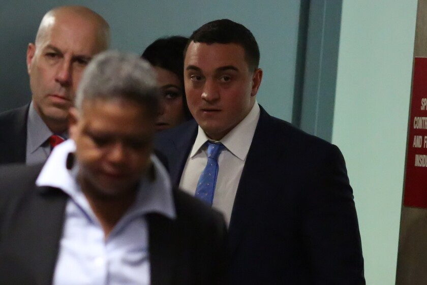 """(Right) Louis Ruggiero at Manhattan Criminal Court on Monday, Oct. 29, 2018. Ruggiero, the son of """"Good Day New York"""" anchor Rosanna Scotto, testified as the prosecution's star witness in the murder trial of James Rackover."""