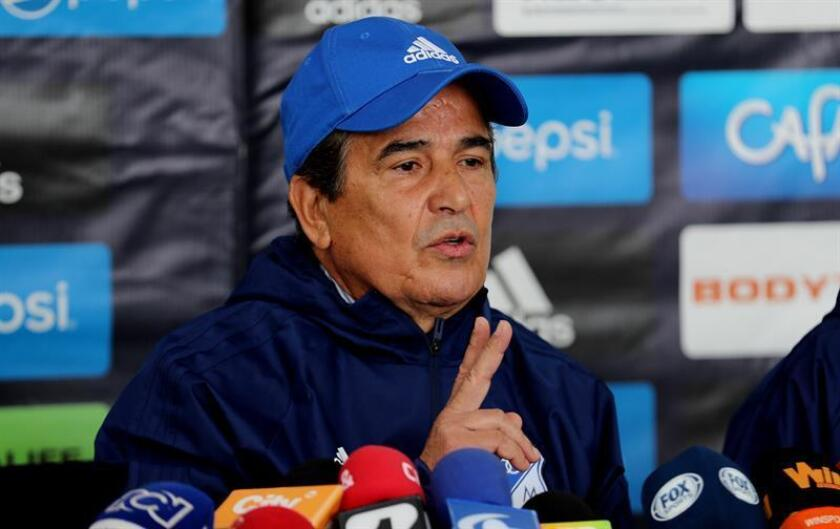 Jorge Luis Pinto poses during his presentation as the new coach of Millonarios, in Bogota, Colombia, Nov. 14, 2018. EPA-EFE/Leonardo Munoz