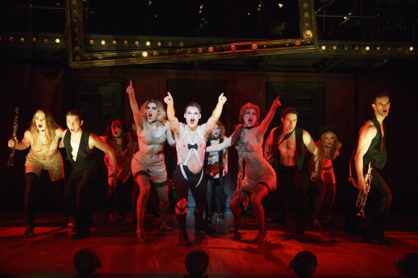 """Randy Harrison (center) as the Emcee with cast members from Roundabout Theatre Co.'s """"Cabaret."""""""