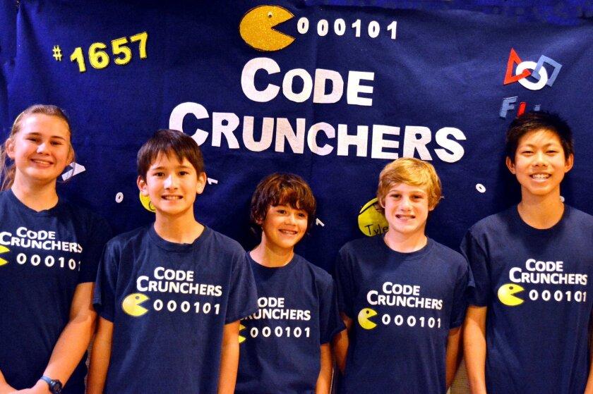 Members of the Solana Beach-based Code Crunchers robotics team: Annie Hargis, Brady Nicol, Tyler Costello, Trey Becker and Garrek Chan