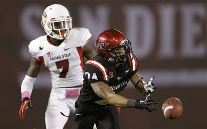 San Diego State wide receiver Colin Lockett, right, can't hold on to a pass as Fresno State defensive back Curtis Riley (7) defends during the first half in an NCAA college football game Saturday, Oct. 26, 2013, in San Diego. (AP Photo/Gregory Bull)
