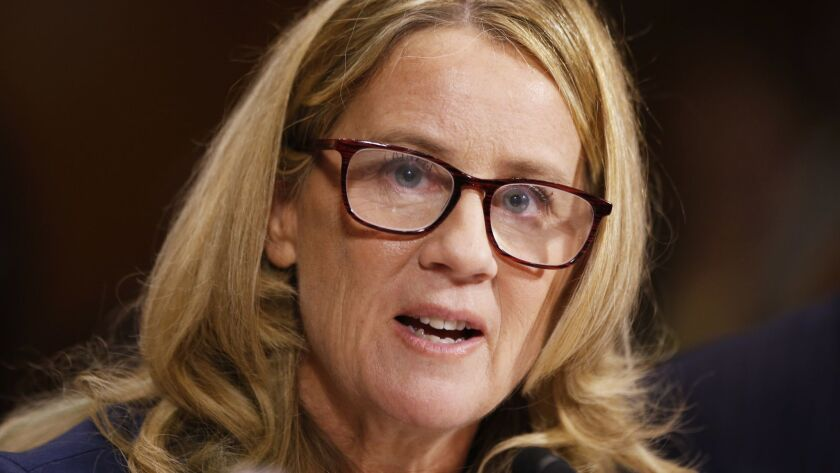 Psychologist Christine Blasey Ford speaks before the Senate Judiciary Committee on Sept. 27.