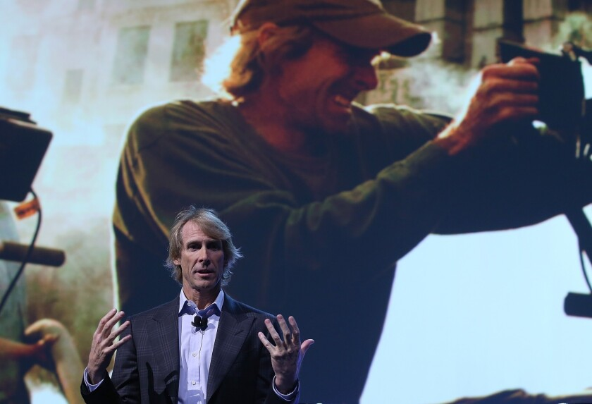 Michael Bay speaks at the Consumer Electronics Show moments before walking off the stage.