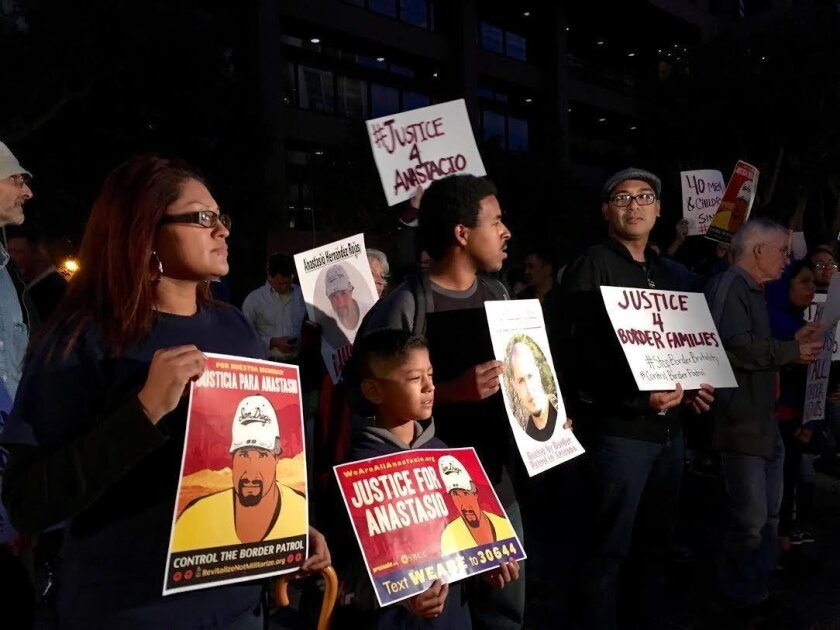 In this file photo, activists in San Diego protest a federal decision to clear Border Patrol agents on criminal charges in the death of Anastasio Hernandez Rojas. The Mexican man died while in the custody of Customs and Border Protection.