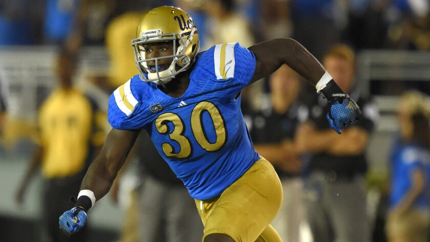UCLA linebacker Myles Jack played on defense almost exclusively during the Bruins' 42-35 win over Memphis on Sept. 7. UCLA Coach Jim Mora says he'd like to expand Jack's role at running back.