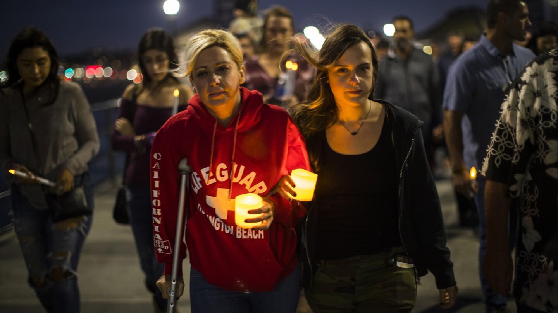 Vigil on Huntington Beach Pier