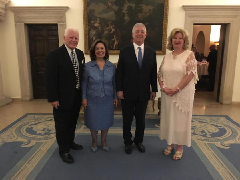 The Van Kesslers with the Royal couple (l-r): Charles Van Kessler, Crown Princess Katherine, Crown Prince Alexander and Linda Van Kessler