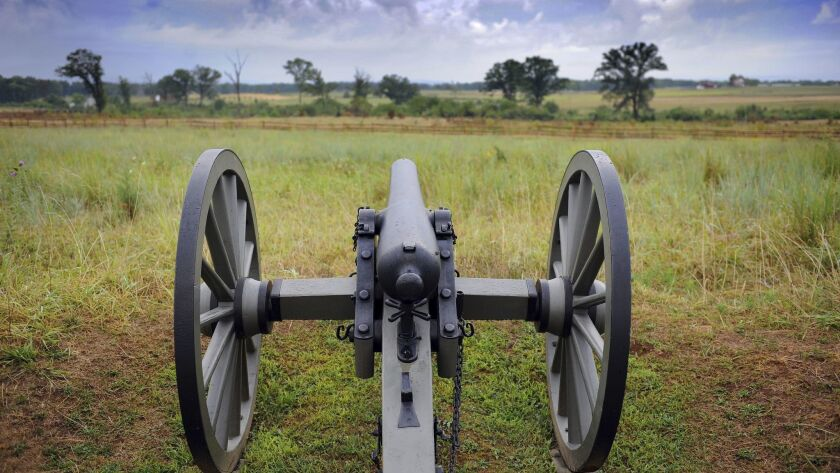 A restored canon sits along Cemetery Ridge in Gettysburg, Pa., site of the bloodiest battle of the U.S. Civil War.