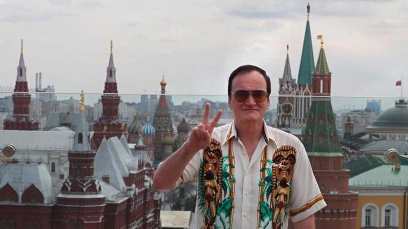 """El director estadounidense Quentin Tarantino posa durante la presentación de su película """"Erase una vez en Hollywood"""" en Moscú, Rusia."""