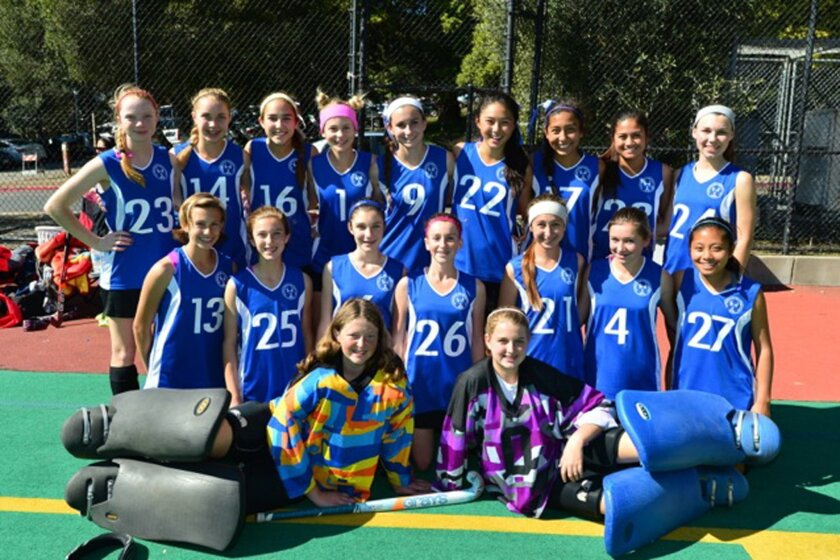 San Diego Premier field hockey club teams took a first place and a second place in the Under 16 division of the Cal 6v6 Tournament recently held in Berkeley March 9 and 10. SDP Yellow won the U16 middle championship in a shootout over the Moorpark Coyotes after the championship game ended in a tie. SDP Blue finished second at the U16 elite level in another shootout (that went six rounds) after their title game against Hollywood AC finished in a 3-3 draw. The tournament included a total of 24 teams from more than a dozen field hockey clubs. Premier, which includes players from all around the county, took three teams to the tourney which compiled a record of 14 wins and only one loss in pool play, that being one Premier team getting beat by another. Pictured standing: Hannah Loos (left), Jessica Loos, Farah Farjood, Shannon Yogerst, Gabi Jimenez, Kyra Kent, Tatiana Arias, Erica Bondoc and Nina Randolph. Kneeling: Daniella Shoenfeld (left), Megan Schneider, Emily Mosler, Megan Rogers, Scout Gibson, Kayla Jordan and Emily Tran. Sitting in front: Chelsea Bigelow (left) and Lauren Stockwell. Not pictured: Gaby LeRose and Dani Jackel.
