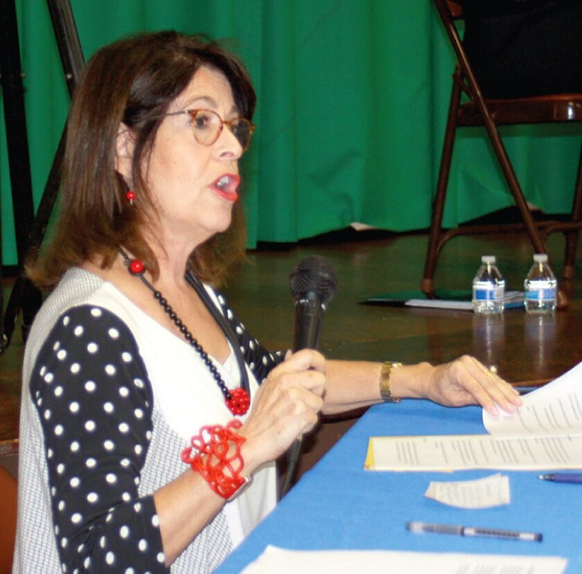 La Jolla Light publisher Phyllis Pfeiffer moderates the San Diego City Council District 1 candidates forum Oct. 8, 2015 at La Jolla Recreation Center.