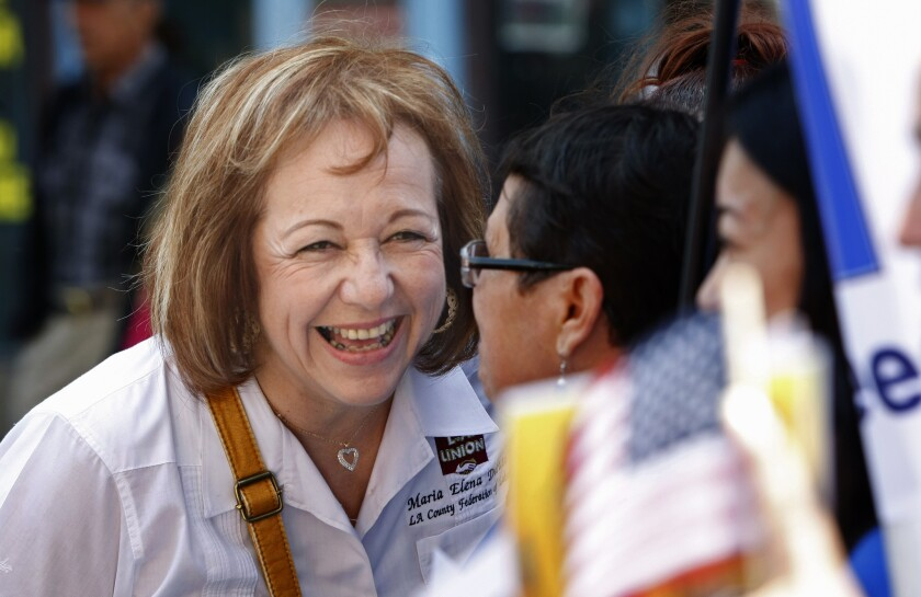 """Maria Elena Durazo, head of the L.A. County Federation of Labor, shown before this year's May Day march in downtown Los Angeles. On Tuesday, Durazo said, """"There will be consequences"""" if the House refuses to take up the immigration bill passed by the Senate."""