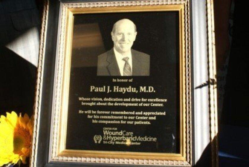 A plaque honoring Dr. Paul Haydu Courtesy photos