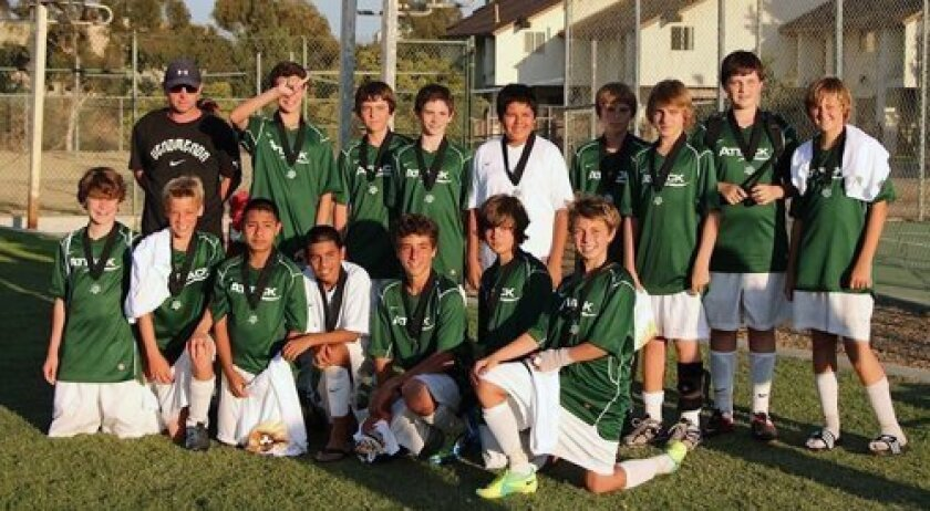 Back Row:  Coach Andy Hargreaves, Elliot Muller, Ben Ripley, Hunter Snyder, Brandow Santos, Brian Ripley, Max Parker, Brian Wright, Clayton Duke; Front Row:  Ethan Valdes, Kevin Ham, Joel Nava, Victor Navarette, Lee Abed, Mauricio Cortina, Michael Tonelli