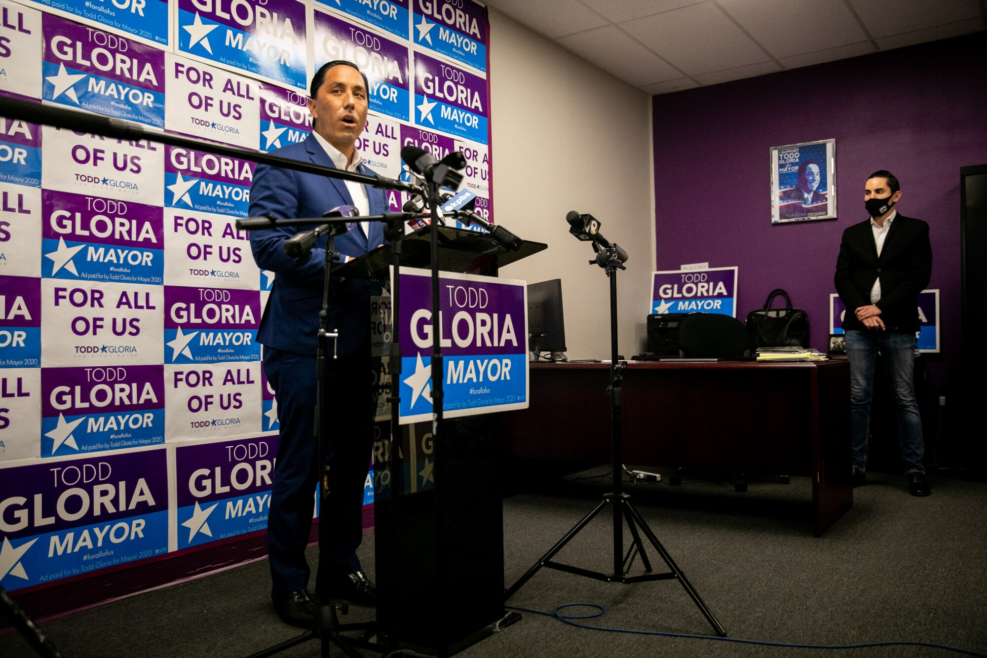 Mayoral candidate Todd Gloria speaks to the press the day after Election Day at his campaign headquarters.