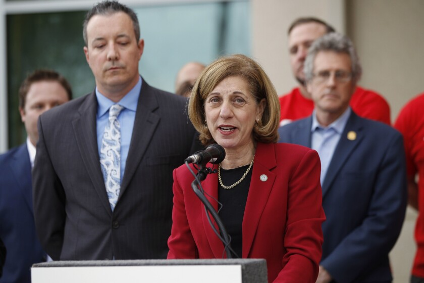 San Diego City Council member Barbara Bry speaks at SDSU West news conference in January 2018.