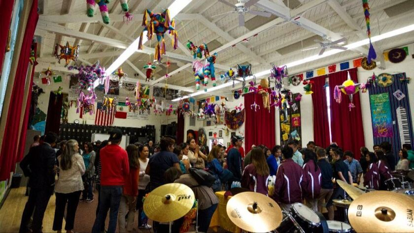 Southwest Middle School's new music room is decorated for Cinco de Mayo and features words of inspir