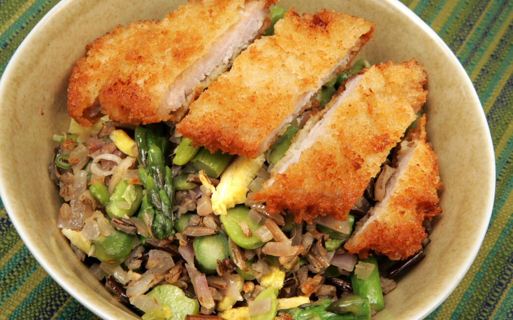 Wild rice katsudon with spring vegetables