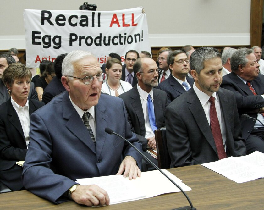 "FILE - In this Sept. 22, 2010, file photo, Wright County Egg owner Austin ""Jack"" DeCoster, left, and his son, CEO Peter DeCoster, testify before the House Oversight and Investigations subcommittee hearing on ""The Outbreak of Salmonella in Eggs"" in Washington. The 8th U.S. Circuit Court of Appeals on Wednesday, July 6, 2016, upheld the three-month jail sentences issued to the two egg industry executives whose Iowa company caused a nationwide salmonella outbreak in 2010. (AP Photo/Manuel Balce Ceneta, File)"