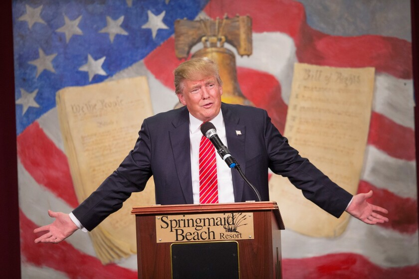 Republican presidential candidate Donald Trump speaks at the South Carolina tea party convention Saturday inMyrtle Beach,S.C.