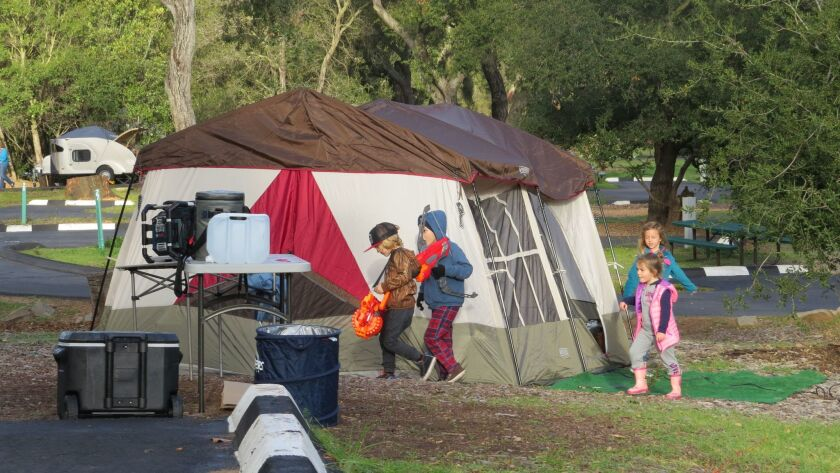 A portable heater and the right clothing made tent camping at Dos Picos County Park comfortable this weekend, despite chilly temperatures.