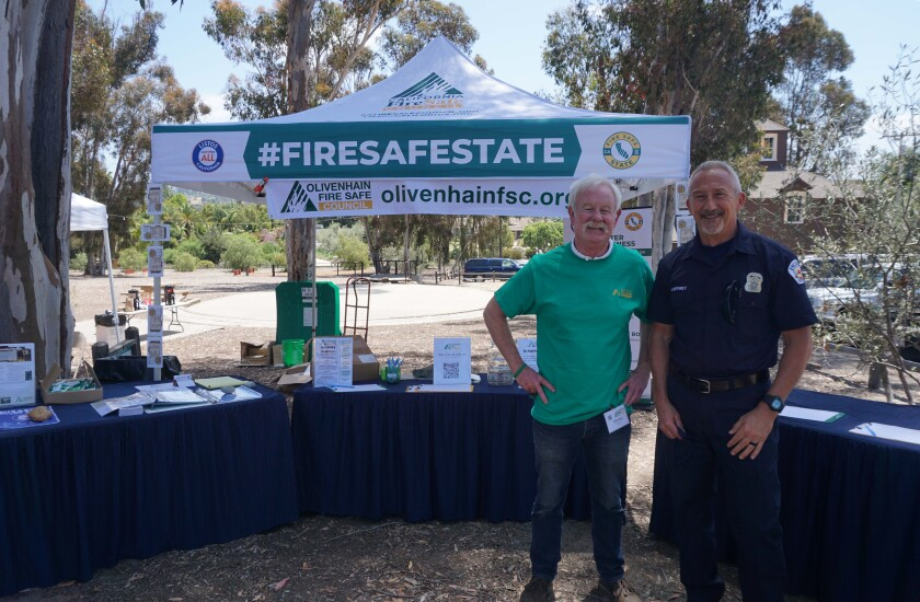 Olivenhain Fire Safe Council Chair Denny Neville (left) and Encinitas Deputy Fire Marshal Kelly Gaffrey attended the fair.