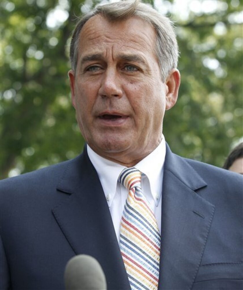 House Speaker John Boehner of Ohio speaks to reporters outside the White House in Washington, Wednesday, June 1, 2011, as he and House Republicans ledt after their meeting with President Barack Obama regarding the debt ceiling. (AP Photo/Charles Dharapak)