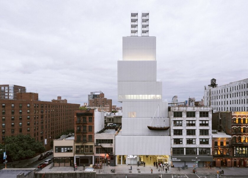 """Chris Burden's 35-foot-tall sculpture """"Twin Quasi-Legal Skyscrapers """" was erected atop the New Museum in 2013. His 4,000-pound sculpture """"Ghost Ship"""" was suspended from the building's facade."""