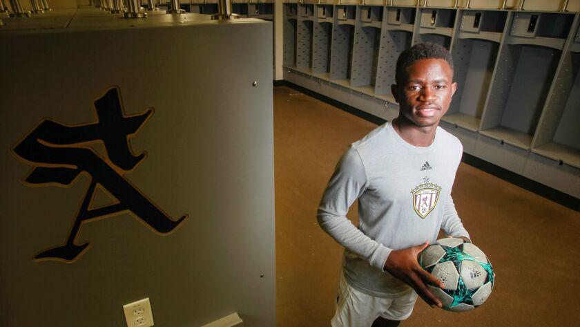 SAN DIEGO, CA February 1st, 2019   St. Augustine boys soccer player Francois Ekyoci poses for photos