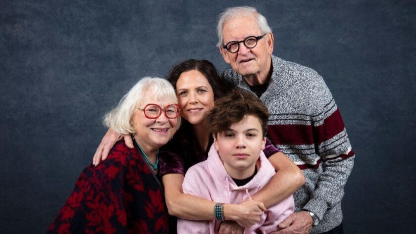 """Director Irene Taylor Brodsky, center, with parents Sally and Paul Taylor and son Jonas at the L.A. Times studio at Sundance 2019. Brodsky's family is the subject of """"Moonlight Sonata."""""""
