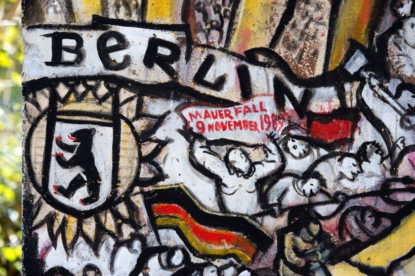 An original segment of the Berlin Wall is presented in Leipzig, Germany.