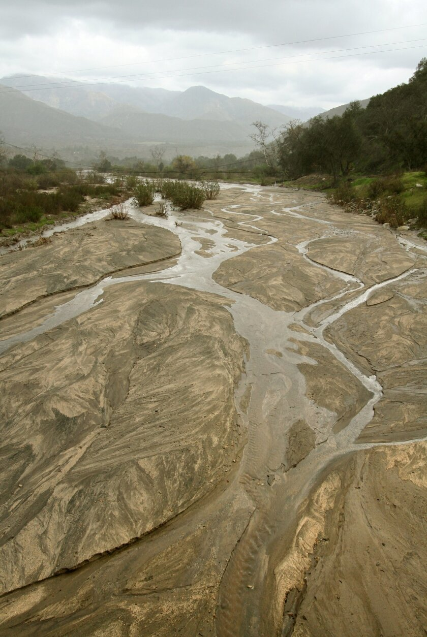 The San Luis Rey River flows through the Pala Indian Reservation in this view looking east from the Lilac Road bridge.