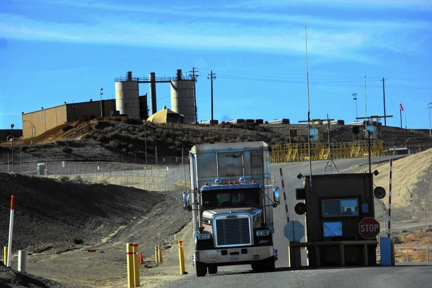 A truck exits Chemical Waste Management Inc.'s hazardous-waste landfill near Kettleman City. The landfill was among the state's top five emitters of toxic chemicals in 2013.