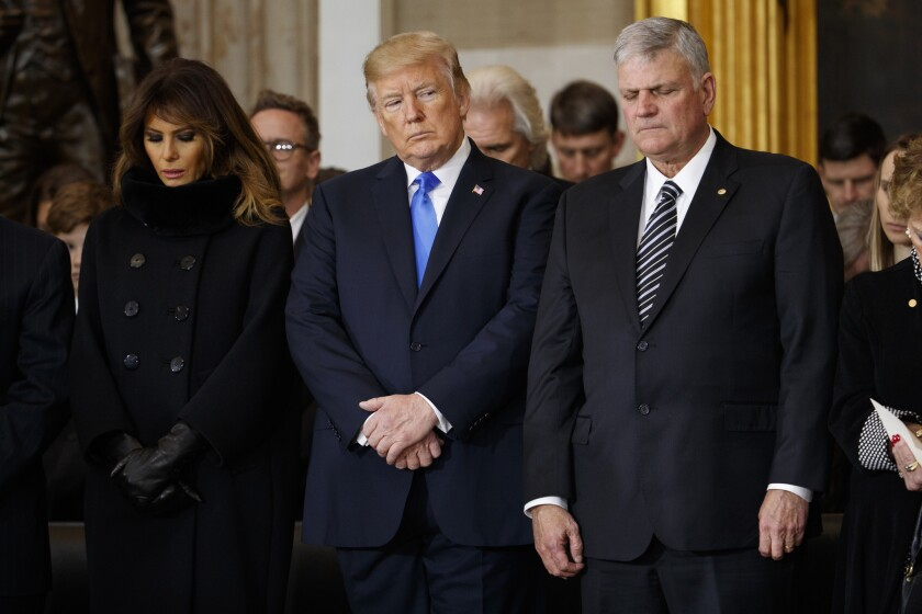 President Trump, Melania Trump and the Rev. Franklin Graham